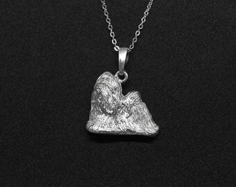 Shih tzu jewelry pendant-Sterling Silver-Personalized Pet Necklace-Dog lover gift-Pet Memorial
