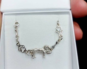 Golden retriever brachelet -Sterling Silver Dog jewelry brachelet charm-Personalized Pet Necklace
