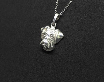 Boxer dog jewelry pendant-Sterling Silver-Personalized Pet Necklace-Dog lover gift-Custom Dog Necklace-Pet Memorial Gift-Dog Mom jewellery