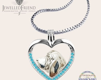 Bloodhound jewelry necklace pendant with swarovski crystal-Sterling Silver-Personalized Pet Necklace-Dog lover gift-Custom Dog Necklace-Pet