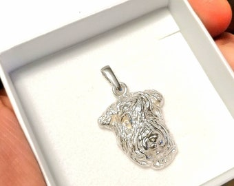 Airedale terrier jewelry pendant-sterling silver-Custom Dog Necklace-Pet Memorial Gift-Dog Mom Gift-Pet jewellery