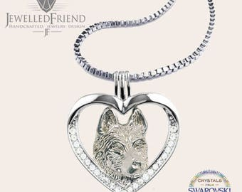 Siberian husky jewelry pendant with swarovski crystal -Sterling Silver Dog jewelry Necklace-Personalized Pet Necklace