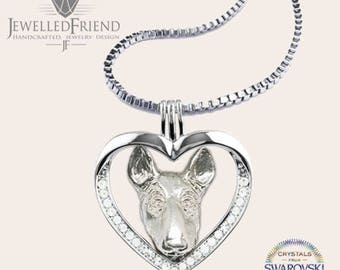 Bull terrier jewelry necklace pendant with swarovski crystal-Sterling Silver-Personalized Pet Necklace-Dog lover gift-Pet Memorial