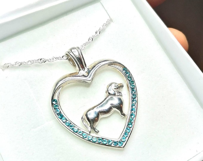 Featured listing image: Dachshund jewelry necklace pendant with swarovski crystal-Sterling Silver-Personalized Pet Necklace-Dog lover gift-Custom Dog Necklace