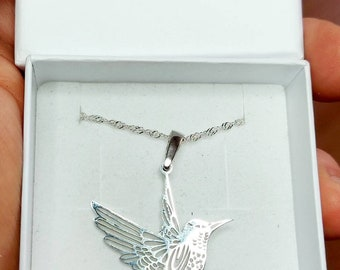 Colibri jewelry pendant-Sterling Silver-Personalized Pet Necklace-Colibr lover gift-Custom bird Necklace-Pet Memorial Gift-Dog Mom jewellery
