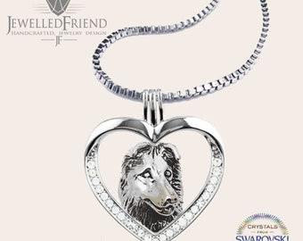 Australian Shepherd jewelry necklace pendant with swarovski crystal-sterling silver-Custom Dog Necklace-Pet Memorial Gift-Dog Mom Gift