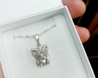 Sky terrier jewelry pendant Sterling Silver Dog jewelry Necklace-Personalized Pet Necklace