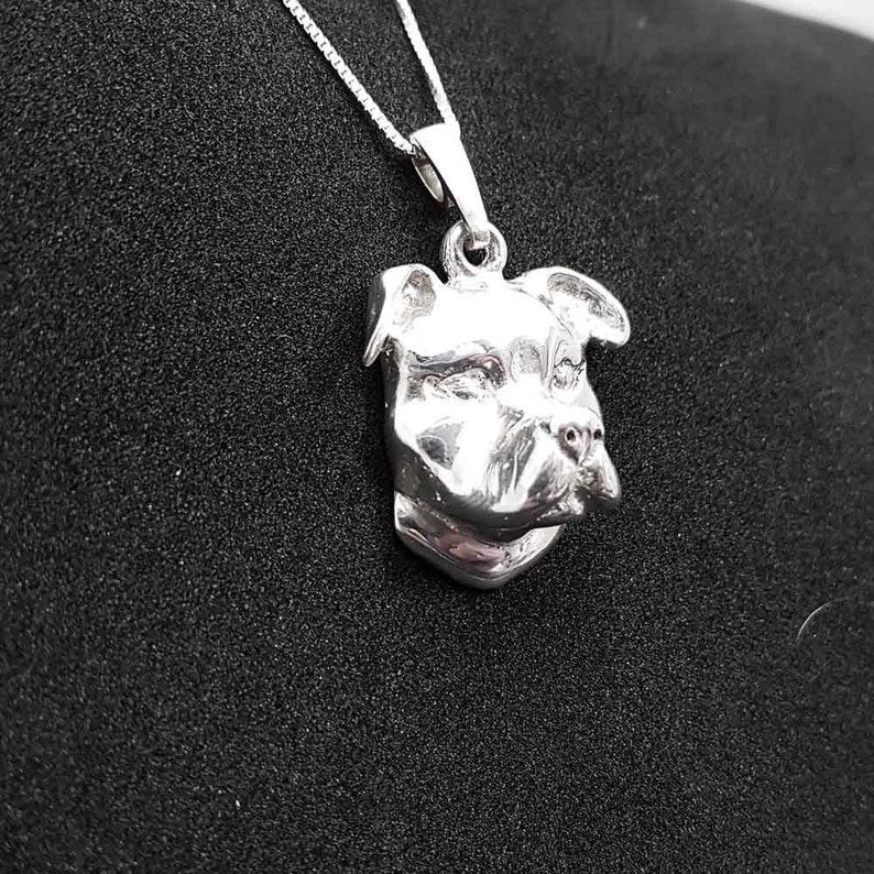 Dog Mom Gift American staffordshire terrier jewelry pendant sterling silver Pet jewellery amstaff pendant Pet Memorial Gift