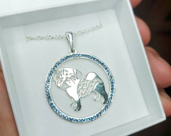 Pug jewelry necklace pendant with swarovski crystal-Sterling Silver-Personalized Pet Necklace-Dog lover gift-Pet Memorial
