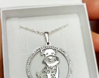 Schnauzer jewelry necklace pendant with swarovski crystal-Sterling Silver-Personalized Pet Necklace-Dog lover gift-Pet Memorial