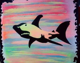 Groovy shark painting.