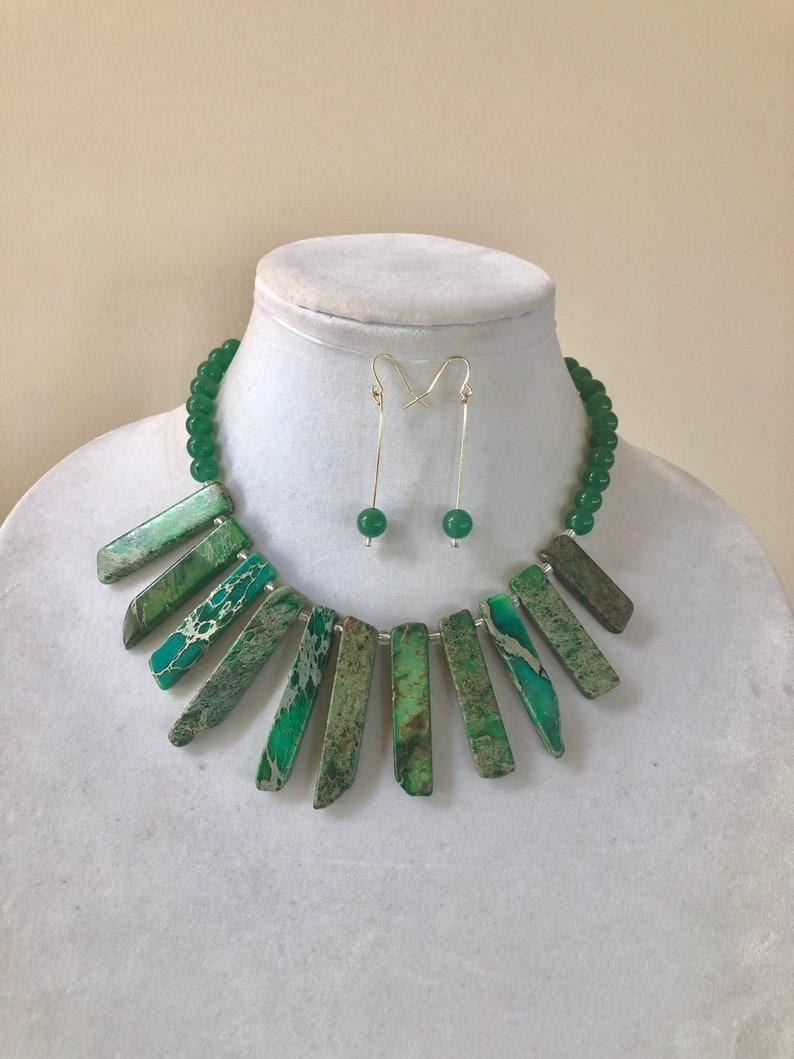 Green Aventurine Necklace Green Chunky Necklace Green Women Necklace,Holiday Gift For Her Beaded Necklace Green Imperial Jasper Necklace