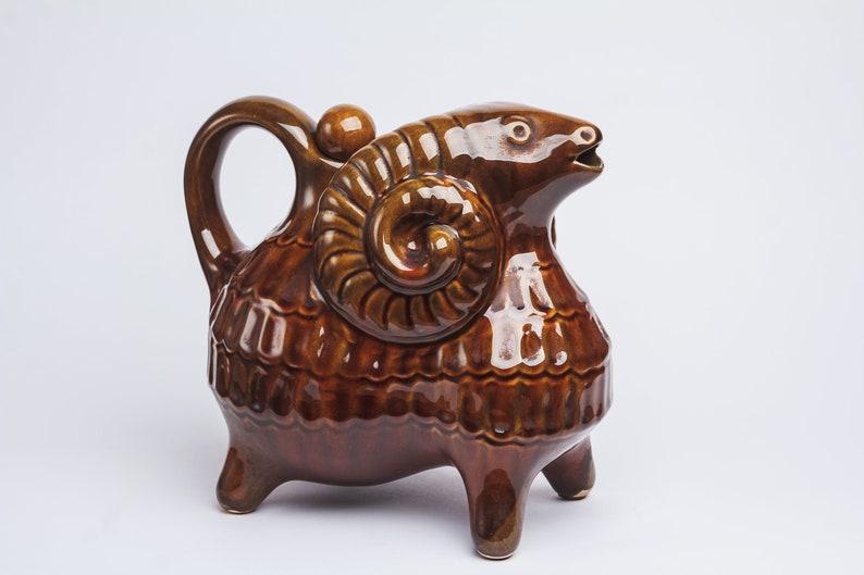 Ram decanter Shabby chic rustic decor Wine Whiskey Birthday coworker gift for him man Liqueur Vintage Jug barware ceramic sheep decanter