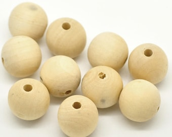 50 pcs Wooden Beads, Round Wooden Beads - BD001