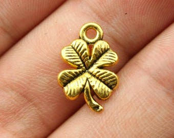 20 pcs Four Leaf Clover Gold Plated Charm, Gold Plated Pendant - PD028