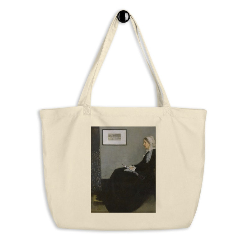 Whistler\u2019s Mother with oboe Large organic tote bag