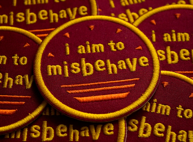 "Firefly SERENITY /"" I Aim To Misbehave/"" 3/"" In Diameter Logo Enbroidered Patch"