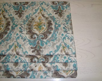 Teal Taupe Grey Yellow Damask Faux Roman Shade Valance Window Treatment Bedroom Bathroom Kitchen Dining Room Office