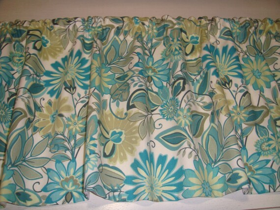 Teal Grey Tan Cream Valance Window Treatment Bedroom Bathroom Kitchen  Laundry Living Room