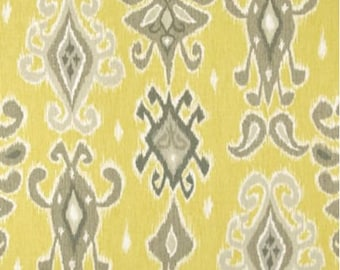 Ikat Yellow Grey White Faux Roman Shade Window Treatment Bedroom Kitchen Bathroom Office Living Dining