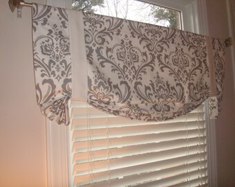 Grey White Damask Tie Valance Window Treatment Curtain Bedroom Office Kitchen Laundry Room