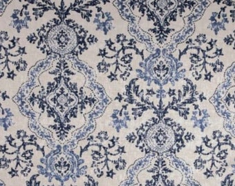 Blue Medallion Faux Roman Shade Valance Window Treatment Bedroom Bathroom Dining Living Room Kitchen Dining Room Office