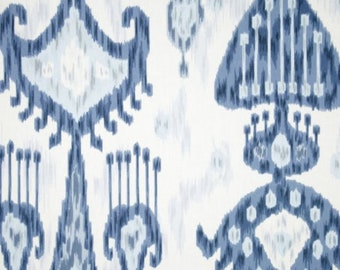Ikat Blue Ivory Faux Roman Shade Window Treatment Bedroom Bathroom Living Room Kitchen Dining Room Office
