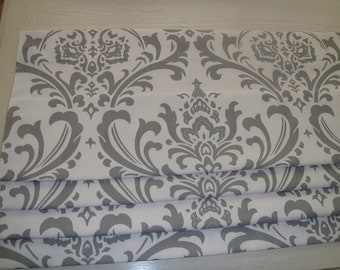 Grey on White Damask Faux Roman Shade Valance Window Treatment Bedroom Bathroom Living Room Kitchen Dining Room Office Laundry