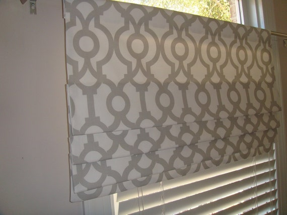 Pretty French Grey White Lyon Trellis Faux Roman Shade Window Treatment Trellis Bedroom Nursery Living Room Kitchen Dining Room Office