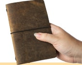 Leather Cover for Travelers Notebook American Full Grain Leather Various Sizes for Passport Regular Field Notes A6 A5 Holds 4 Inserts