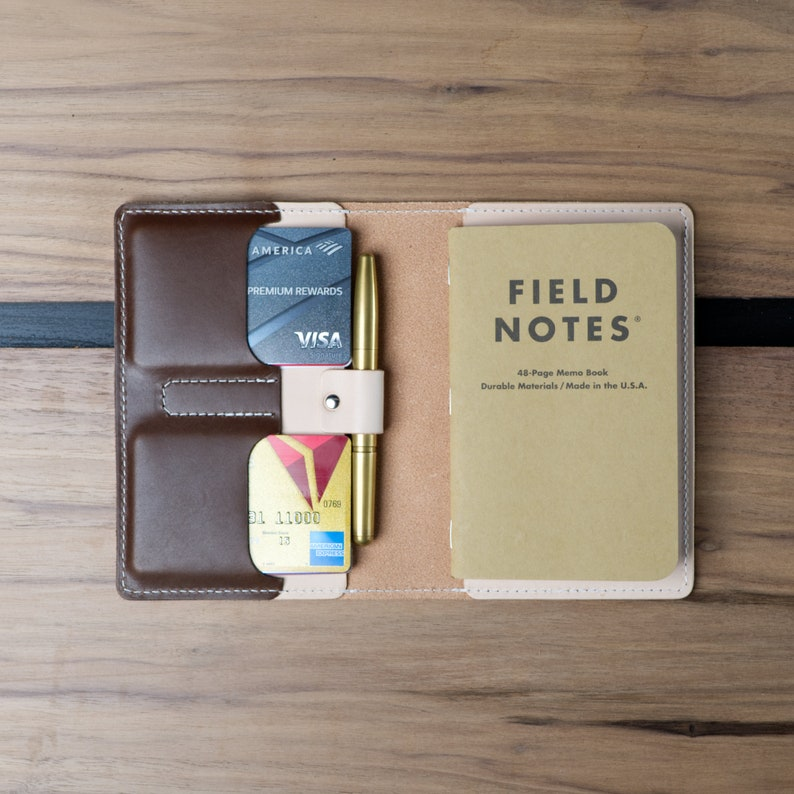 Field Notes Cover with Pen Holder / Moleskine Pocket Cover  image 0