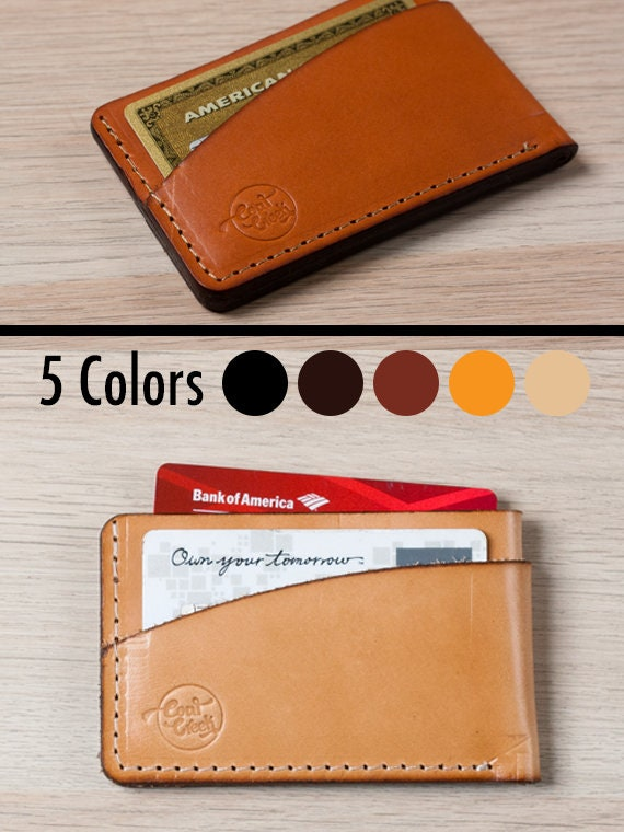 406c44213876 Minimalist Card Wallet - Wickett & Craig Full Grain Leather /Card Sleeve /  Minimalist Card Holder / Front Pocket Personalized Wallet / Slim