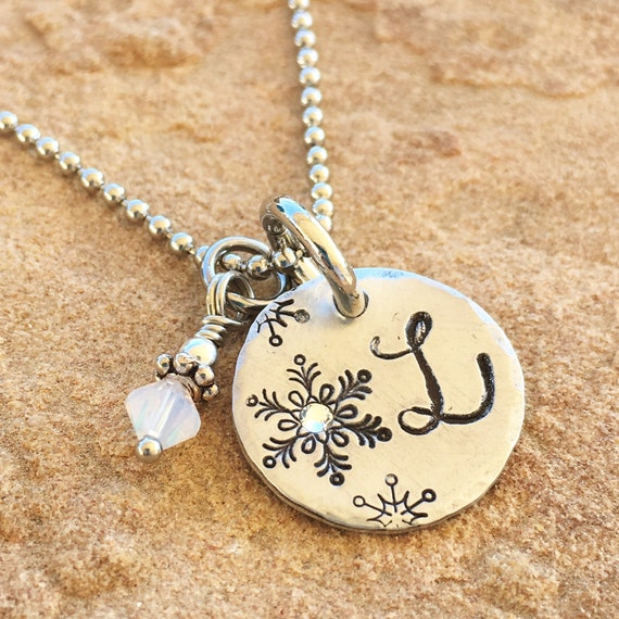 Personalized Jewelry Little Girl Necklace Monogram Necklace Birthstone Initial Necklace Best Friends Necklaces Snowflake Necklace