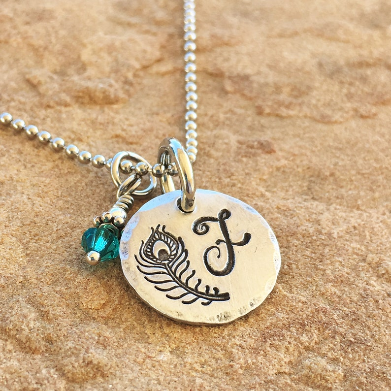 Monogram Necklace Little Girl Necklace Peacock Feather Necklace Best Friends Necklaces Birthstone Initial Necklace Personalized Jewelry