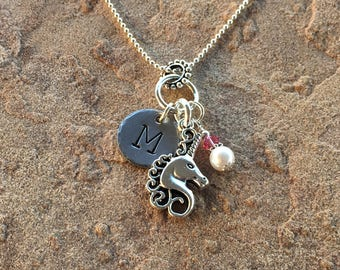 Unicorn Necklace, Monogram Necklace, Best Friend Necklace, Personalized Jewelry, Initial Necklace, Birthstone Jewelry, Little Girl Necklace
