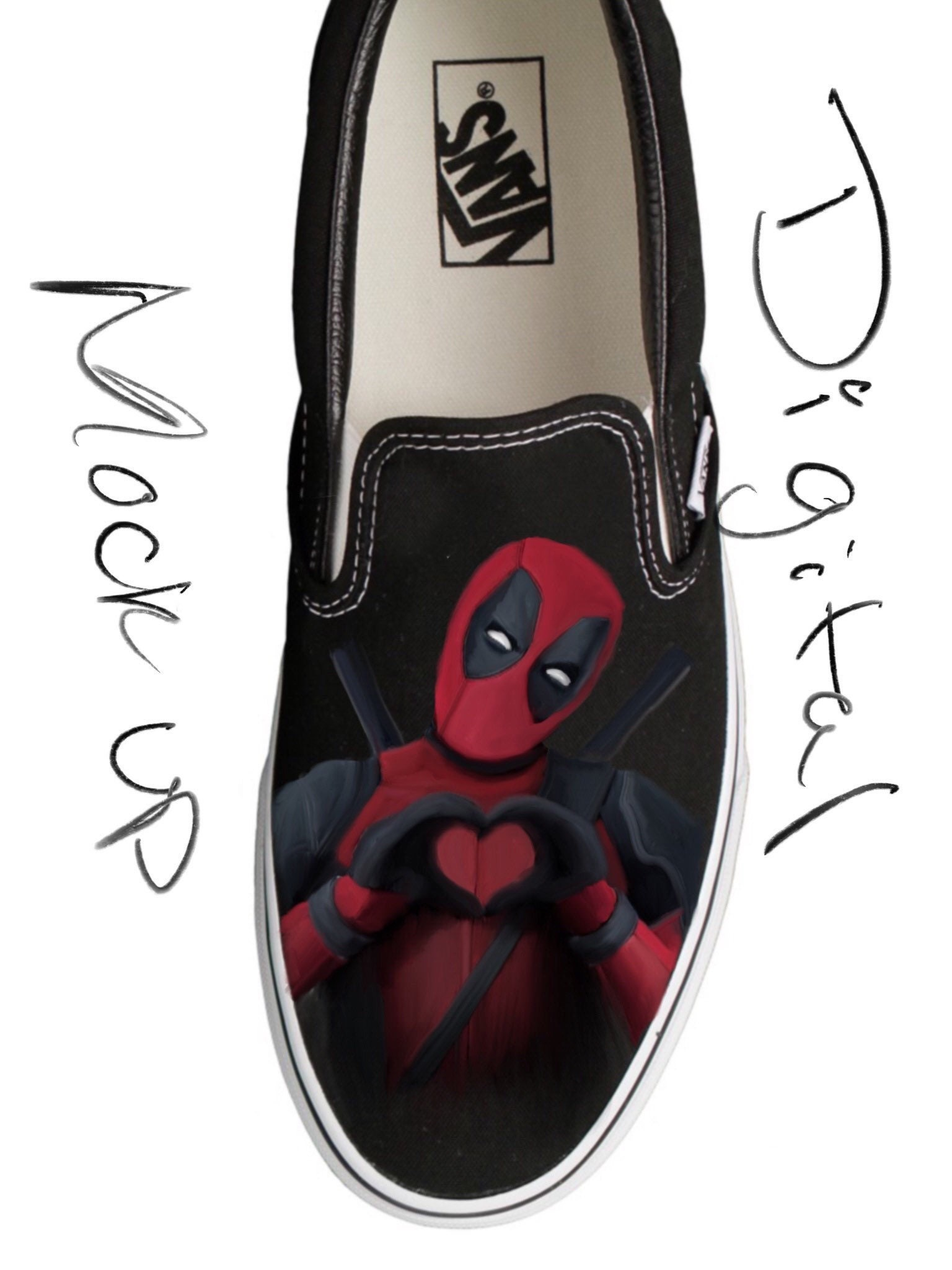 7192c07f4cbb Deadpool Heart Custom Painted Shoes (First Time Design Discount)