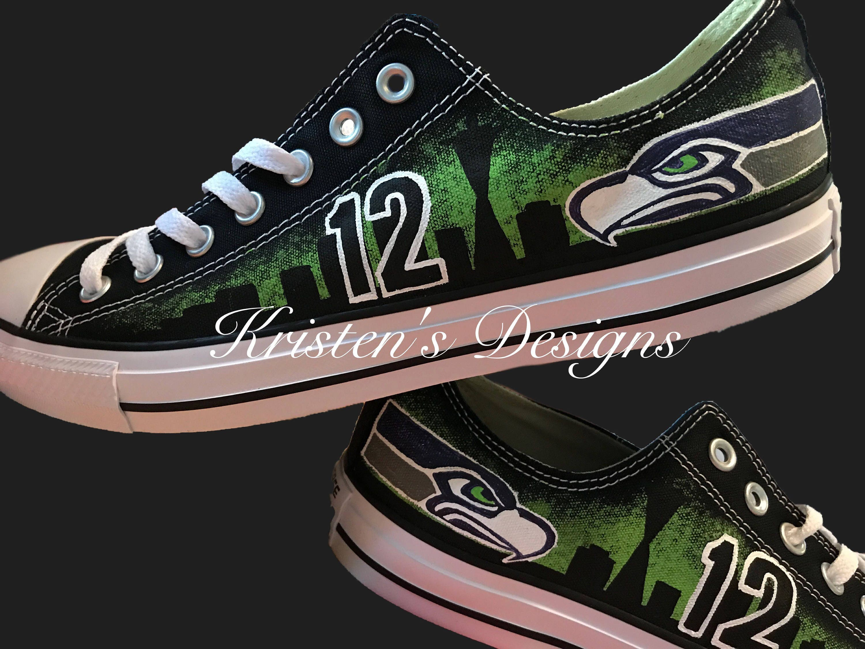 Seattle Seahawks Hand Painted Shoes a473bd7c5