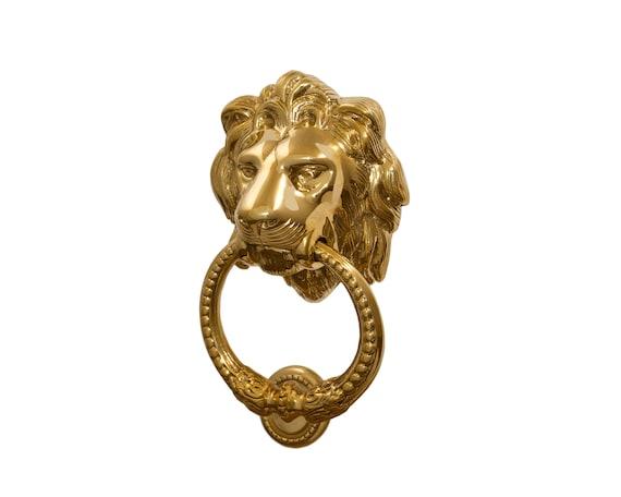 Vintage Solid Brass Lion Head Door Knocker