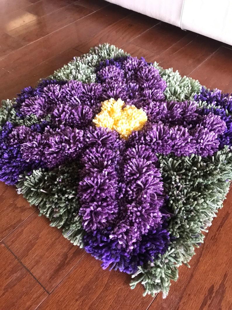 Pom Pom couleur violet/tapis tapis/squarerug/fleur | Etsy