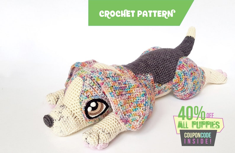 Rocket the Beagle  life-sized crochet pattern  EASY TO image 0