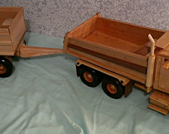 Hand Crafted all wood Western Star Gravel Truck and Pup trailer