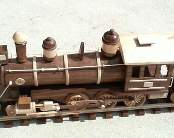 Locomotive  Wood  Train Engine  Vintage  -  Hand Made with Tender & track