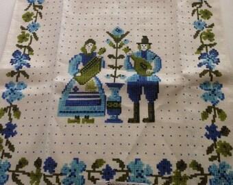 "Vintage PARISIAN PRINTS All Pure Linen Dutch Couple Blue Tea Towel Folk Art 29"" X 16"" New with tags"