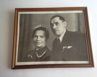 "Vintage Photo of A Royal Couple in a Wooden Frame 9"" X11"""