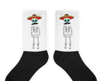 Mexican Skeleton Socks, Hombre with Sombrero, Sugar Skull