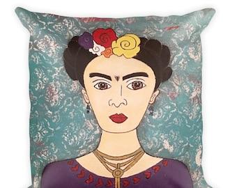 Frida Square Pillow, Frida Home Decor, Frida Art