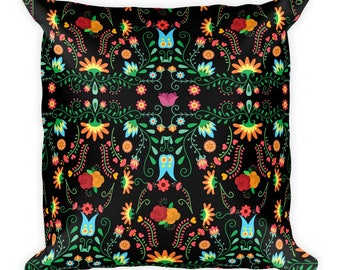 Mexican Flower Pillow Decor Home Decorative