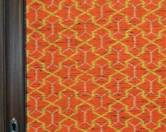 Orange Red geometric tortoise shell kimono silk 62x 14