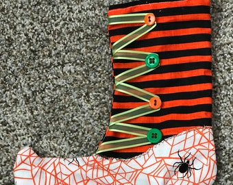 Witch stocking treat bag, Halloween bag, Trick or treat bag, candy bag