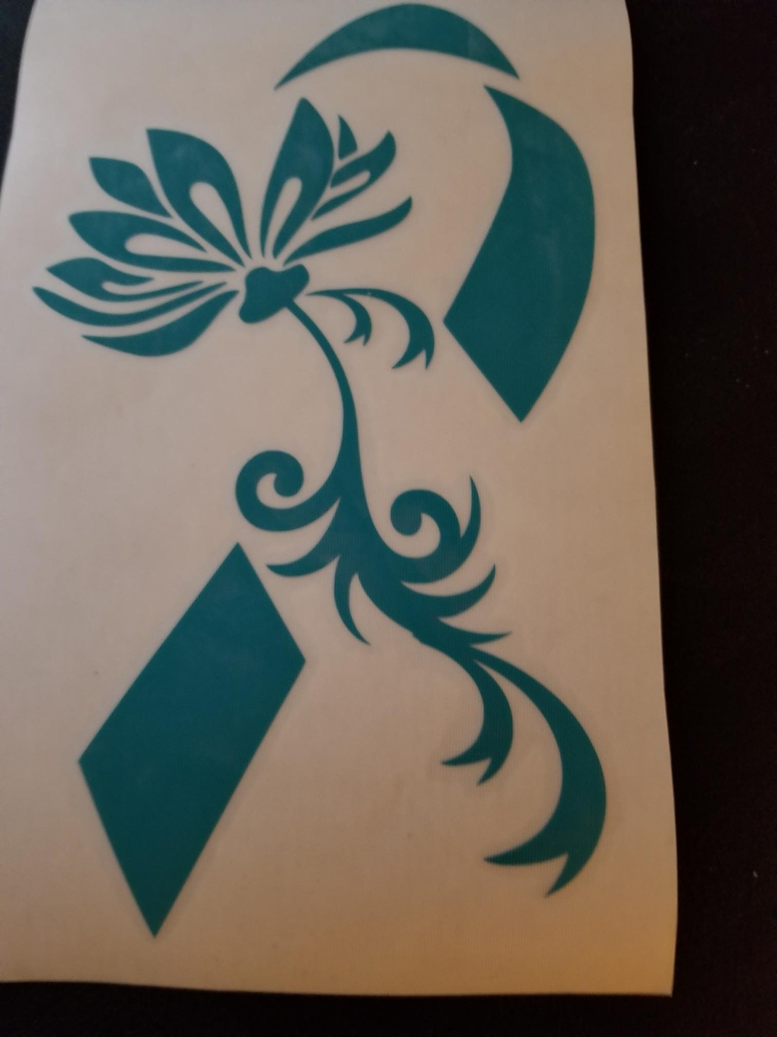 Teal Lotus Flower Awareness Ribbon Ic Ovarian And Cervical Etsy